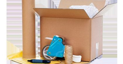 Moving materials: cardboard box, protective wrap, tape, rope, marker.