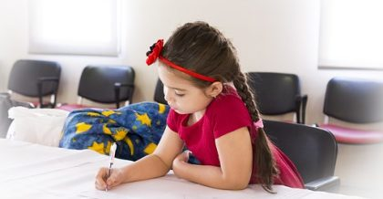 a girl studying after moving to one of the best places for families in Bergen county