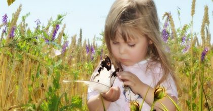 a girl with a butterfly