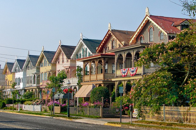 a row of houses on a sunny day