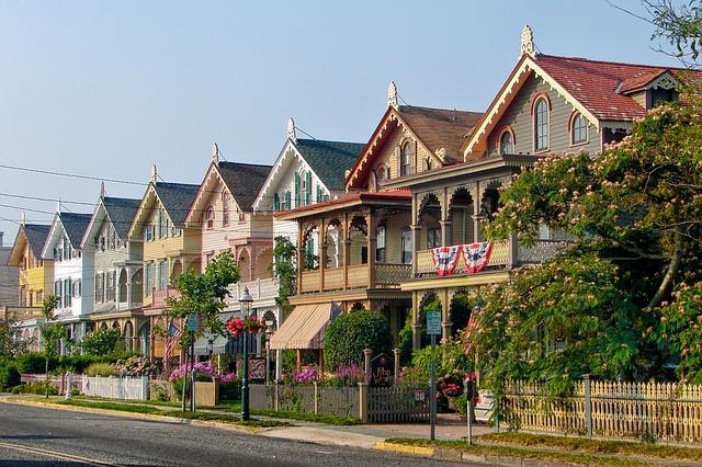 a row of houses on a sunny day